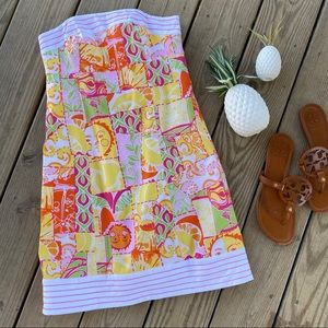 Lilly Pulitzer Patchwork Strapless Sun Dress 0 XS